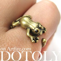 Miniature Baby Frog Toad Animal Wrap Ring in Bronze - Sizes 4 to 8.5