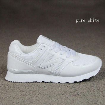 QIYIF new balance running shoes leisure shoes gump sneakers lovers shoes n words pure white