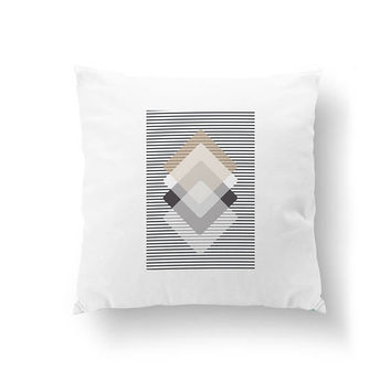 Rhombus Pillow, Simple Art, Decorative Pillow, Home Decor, Brown Beige Black, Pastel Colors, Cushion Cover, Geometric Shapes, Throw Pillow