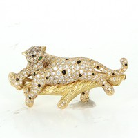 French Hallmarked 3ct Diamond Leopard Cat Pendant Brooch Vintage 18 Karat Gold