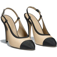 Lambskin & Grosgrain Beige & Black Slingbacks | CHANEL