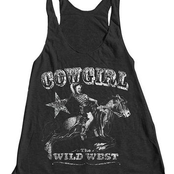 COWGIRL Tank Top American Apparel Triblend Racerback Tank Top Hand Screen Printed 6 Color Available