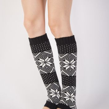 Streetstyle  Casual Christmas Snowflake Knitted Leg Warmer
