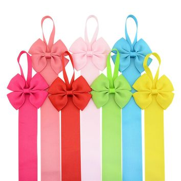 7pcs Grosgrain Bow Tie Hair Clip Barrettes Holder Organizer Storage Hanger Baby Girl Toddlers Accessories