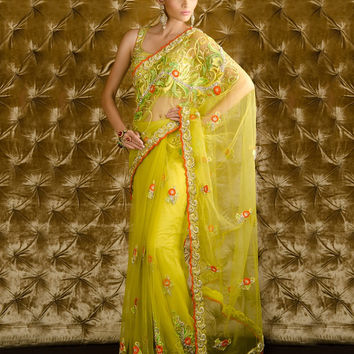 Lemon yellow hand work net saree
