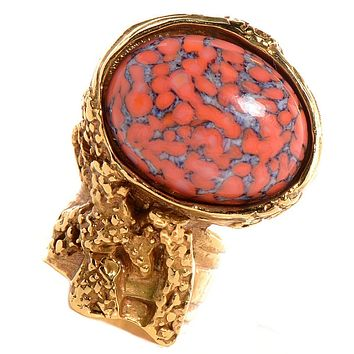 Saint Laurent Yves YSL Women's Coral Red Glass Oval Gold Ring Size 5 196994
