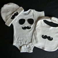 Mustache Baby Boy Gift Set Mustache Onesuit, Mustache Bib and Mustache Beanie Hat For Little Man