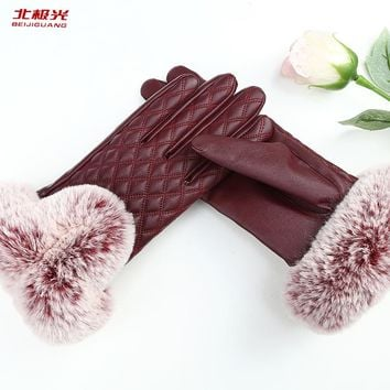 BEIJIGUANG High Quality Elegant Women Genuine Lambskin Leather Gloves Autumn And Winter Vintage Female Gloves