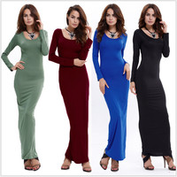 Round Neck Long-Sleeved Solid Color Maxi Dress