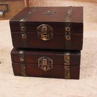 Vintage Wooden Box Double Belt Metal Lock Retro Boxes Storage home Office jewelry Treasure Chest Gift Wood Storage box Case