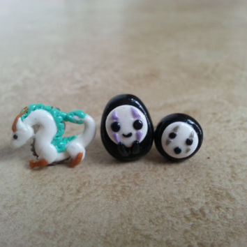 Spirited Away Inspired Clay Earrings-Haku Earrings-No Face Earrings