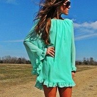 Mint Chiffon Swing Dress