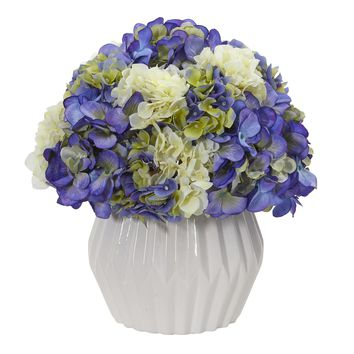 "12"" Hydrangea Artificial Plant in White Vase"