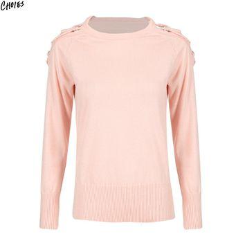 Pink Dropped Cold Shoulder with Strap Knitted Jumper Women Round Neck Long Sleeve Silt Side Casual Soft Autumn Sweater