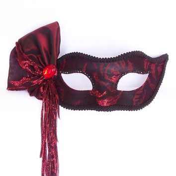 Burgundy, Red And Black Masquerade Mask -  Shimmering Tulle Covered Venetian Mask With Red Gem