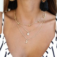 Moon Child Layered Star Gold Necklace - Amazing Lace