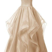 Women Long Prom Dress Asymmetric Bridesmaid Dress Beaded Organza Gown