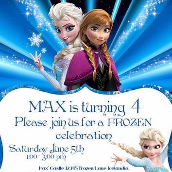 Frozen - Birthday Invite Cards - Blue - High Quality 300 DPI- Customized -Party Printables