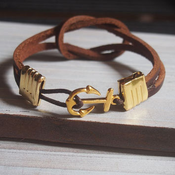 Mens leather bracelet Nautical, Gold Anchor bracelet, men bracelet anchor, gold men anchor bracelet, mens gold bracelet, men bracelet anchor