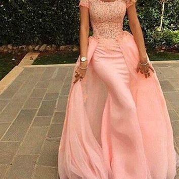Evening Dress Off The Shoulder Lace Pink Prom Dress Tulle