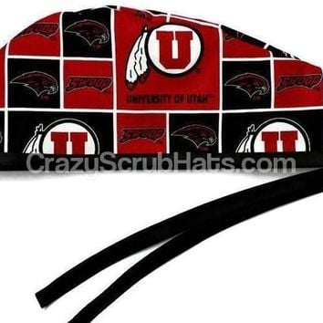 Men's Unlined Surgical Scrub Hat Cap in Utah Utes