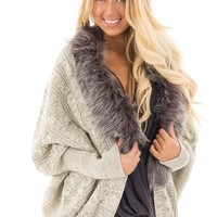 Oatmeal and Heather Grey Knit Cardigan with Faux Fur Collar