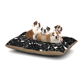 "Julia Grifol ""Flowers in White & Black"" Black White Dog Bed"