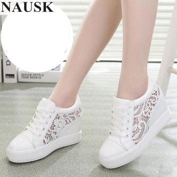 NAUSK 2018 Fashion Wedge Women Footwear Height Increasing women Shoes Women's casual shoes free shipping Increase 8CM Sneakers
