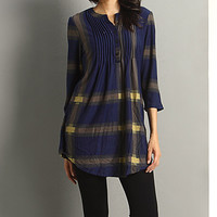 Blue & Yellow Plaid Notch Neck Tunic