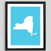My Heart Resides In New York Art Print - Any City, Town, Country or State Map Customized Silhouette Gift