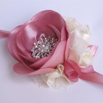 wedding cuff bracelet, wrist corsage in dusty pink,  cream, ivory, bracelet with lace, satin, pearls