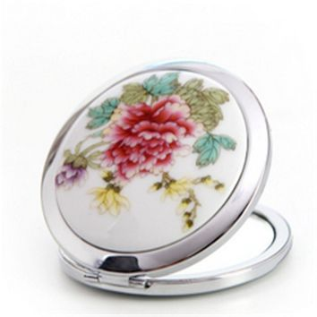 Vintage Women Ladies Blue and White Porcelain Print Lotus Ceramic Metal Compact Portable Cosmetic Mirror Makeup Mirrors