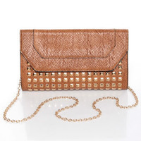 Cute Snake Clutch - Tan Clutch - Studded Clutch - Clutch Purse - $36.00