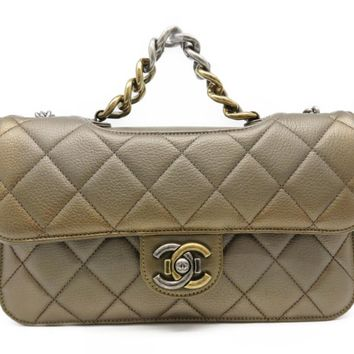 Chanel Calfskin Leather Chain Shoulder Tote Bag Gold 7951