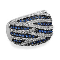 Rhodium Plated Blue and Clear Cubic Zirconia Ring