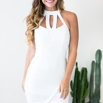 Only Us Cut Out White Bodycon Dress