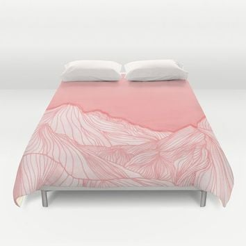 Lines in the mountains - pink Duvet Cover by ViviGonzalezArt