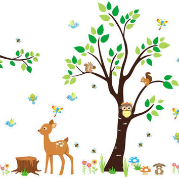 "Baby Room Forest Stickers, Cute Forest Decals, Forest Wall Decals, Woodland Wall Mural, Forest Nursery Decor, Nature Wall Decal - 85"" x 114"""