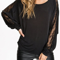Black Sheer Lace Long Sleeve Draped Top