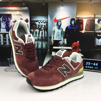 original new balance 574 nb574 maroon red for men women running shoe size 36-44