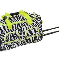 Rockland Luggage Rolling 22 Inch Duffle Bag, Lime Zebra, One Size