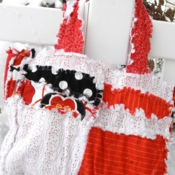 Clearance Sale 65% Off Rag Diaper Bag, PURSE, Rag Quilt Purse, red, black flower, Ready to Ship