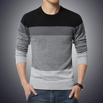 Autumn Casual Men's Sweater O-Neck Striped Slim Fit Knittwear Mens Sweaters Pullovers