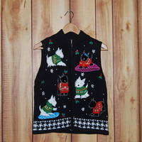 Vintage Christmas Zip Up Sweater Vest with Scottie Dogs wearing Sweaters