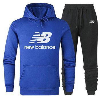 NB New Balance 2019 new simple solid color sports suit two-piece Blue