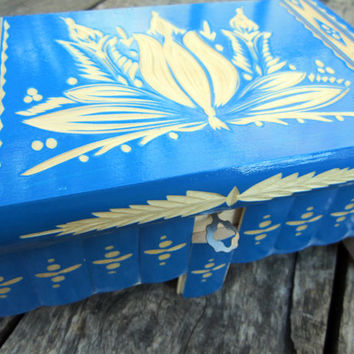 Wooden Large Puzzle Box Blue With Secret Compartment For Jewelry