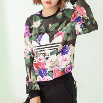 Adidas Fashion Rose Printing Pullover Tops Sweater Sweatshirts