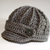 Newborn Boy Baby Gray Grey Newsboy Cap / Hat / Beanie - Knit / Crochet