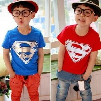 DCCKIX3 Children t-shirt Kids Clothing Tees Cool Superman Baby Boys girls T Shirts For Summer Children Outwear Baby T-shirt = 1946842180