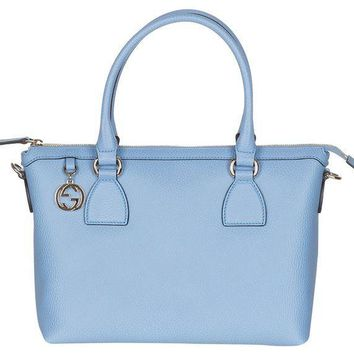 CREYON3F Gucci Mineral Blue Calf Leather GG Pendant Hobo Shoulder Bag